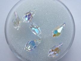 002210/0706- 6 x swarovski kristal hangers druppelvorm 11x5.5mm crystal AB