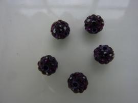 3995.H- 5 stuks AA-kwaliteit strass ballen van 6mm paars - SUPERLAGE PRIJS!