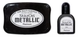 1879 6195- StazOn stempelkussen en inkt set metallic platinum 7.5x5cm