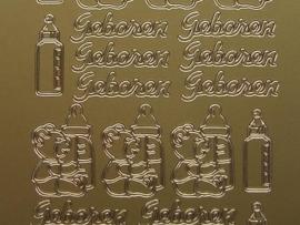 201- geboren + afbeeldingen goud 10x20cm