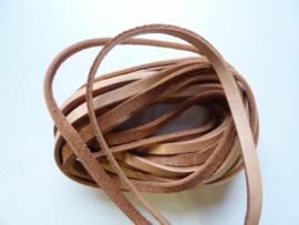 5 meter platte leren veter van 5mm breed naturel - 2mm dik - AA+ kwaliteit