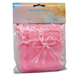 JOY6300/0041- 10 stuks organza zakjes roze - 12.5x9.5cm & 9x7cm