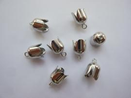 TH12296-9603- 8 stuks veterkapjes/koordkapjes 8mm staalkleur