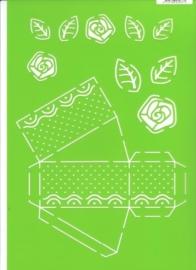 JOY6002/0703- Joy! crafts A4 formaat template doosje taartpunt met bloem en blad