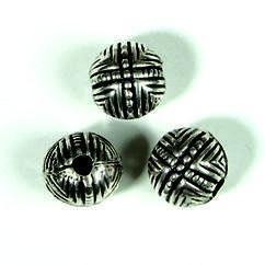 zware massieve metalen kraal ronde bal met lijnmotief 11mm 117465/0103