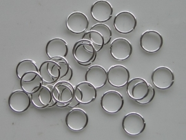 30 x enkele ringetjes 6mm zilverkleur - dunne soort -