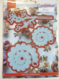 0002531- Marianne Design Creatables stencil nr.256 tak en vouwbloemen (tak is 10.5cm lang) OPRUIMING