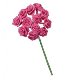 6547 240- 12 stuks roosjes van 10cm lang en 1.5cm breed donker rose