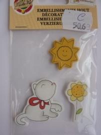 5063.C- embellishments houten figuurtjes poes/zon OPRUIMING