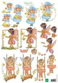 kn/1918- A4 3D knipvel Marianne design Ragdolls springtime fairies  -  117148/4202