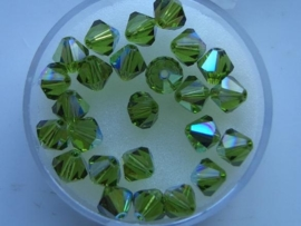 109106/1150- 25 x swarovski 6mm olive green met AB coating