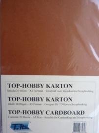06- 20 vellen kaartkarton A5 formaat voor dubbele kaarten ca.225grams roest bruin