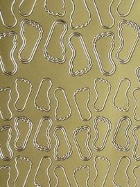 st986- stickervel met diverse maten voetjes 10x23cm goud