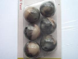 "12094/9440KA- 6 x hoogglans 18mm ""oilpaint"" beige/grijs"