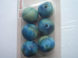 """12094/9408KA- 6 x matte 18mm """"marble look"""" blauw/groen"""