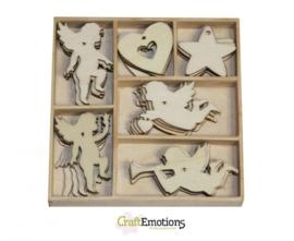 CE811500/0152- 30 stuks houten ornamentjes in een doosje engeltjes 10.5x10.5cm