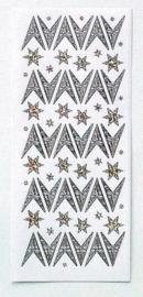 St749- stickervel sterren Leane diamant zilver 10x23cm - 121001/2421