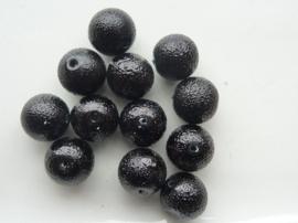 2269- 10 x glasparels `frozen` 12mm zwart