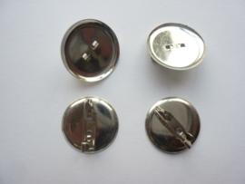 CH.041- 4 stuks broche speldjes met ronde cup van 23mm staalkleur