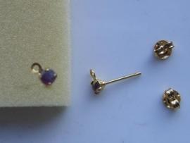5986- oorstekers met steentje 3.5mm goudkleur