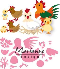 CE115638/1429- Marianne Design collectables Eline's kippen familie 14.5x20.5cm