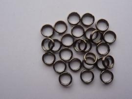 25 x dubbele ringetjes van 6mm antraciet - SUPERLAGE PRIJS!