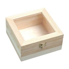 KN8735 720- 3 stuks houten kistjes met kunststof deksel en sluiting 15.5x15.5x7.5cm