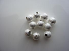 CH.EC225- 10 stuks metalen stardust kralen 7mm lichtzilver