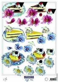 kn/1681- A4 knipvel Marianne D shake it taart bloemen -117141/8957