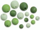 6023 142- 20 stuks houten kralen groen tinten mix