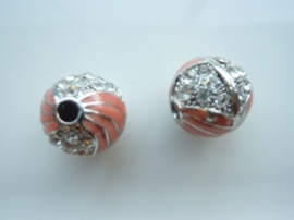 3981- emaille strassbal AA+ roze met crystal strass steentjes 17mm - SUPERLAGE PRIJS