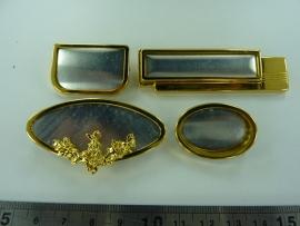 SLK.130.A- 4 stuks zijdebroche 3-delig goudkleur OPRUIMING