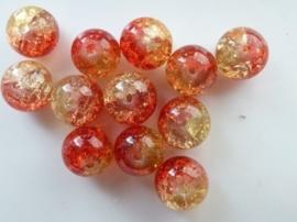 4085- 12 stuks qraccle glaskralen van 10mm rood/geel