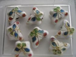 Vlinder CLOISSONNE kralen 5 stuks wit 1381