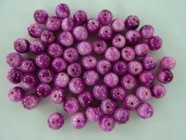 3952- 65 tot 70 stuks naturel Jade mineraal kralen van 6mm roze/cerise mix