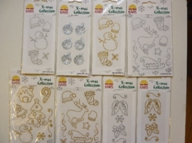 005846- setje met diverse Xmass collection accessoires 8 x strass stickers OPRUIMING