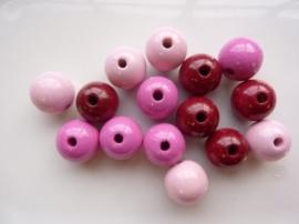 6013 504 - 15 x houten kralen mix roze van 15mm