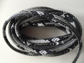 PU.09- 3 meter imitatieleren koord slangenprint zwart 4mm
