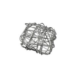 002365 105- draadomwonden grote platte kraal vierkant 20mm doorsnee staalkleur