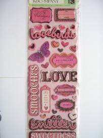 5587- K&Co chipboard stickers love teksten 30x12cm