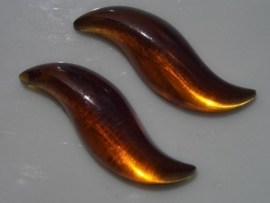 2 x glazen plakstenen 30x6mm bruin no.14