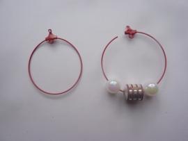 1 paar creolen/ oorhangers 4 cm. rood