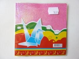 00539- 10 vellen origami papier met reliëf 12x12cm parelmoer kleurenmix OPRUIMING