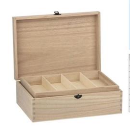 CE811725/0730- houten naaikist 31.5x22.5x11cm paulownia