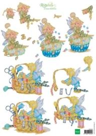 kn/1920- A4 3D knipvel Marianne design Ragdolls sewing fairies  -  117148/4204