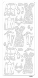 st796-B- stickervel met dameskleding zilver 10x23cm  -  121001/0416