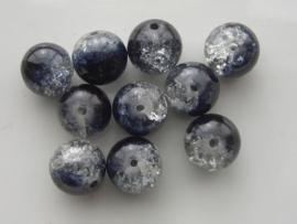 4081 - 10 x qraccle glaskralen 12.5mm zwart