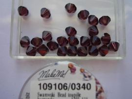 109106/0340 - 25 x swarovski 6mm burgundy