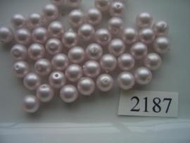 25 x glasparels rond 8mm 2187 pastel mat rose