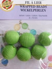 117469/0103- 6 x katoenen wikkelkralen 16mm groen